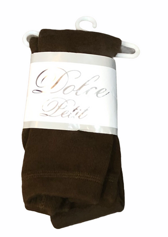 Dolce Petit Girls Brown Cotton Tights