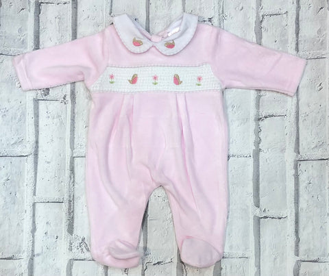 Baby Girl's Velour Babygrow With Smocking