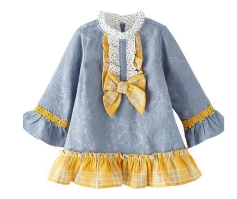 Spanish Baby Girl's Steel Blue Dress