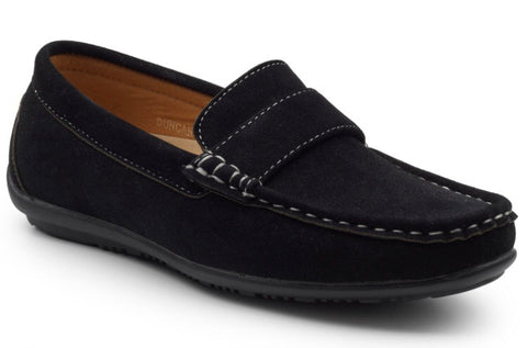 Boy's Black Suede Effect Loafers
