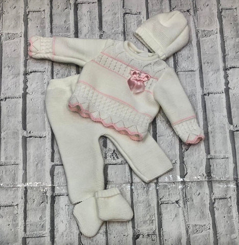 Baby Girl's White And Pink Four Piece Knitted Set