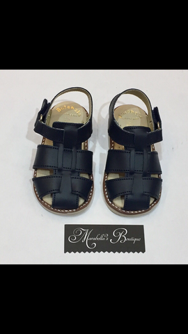 Boys Navy Leather Sandals