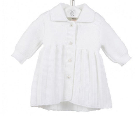 Baby Girl's White Knitted Coat With Pearl Buttons