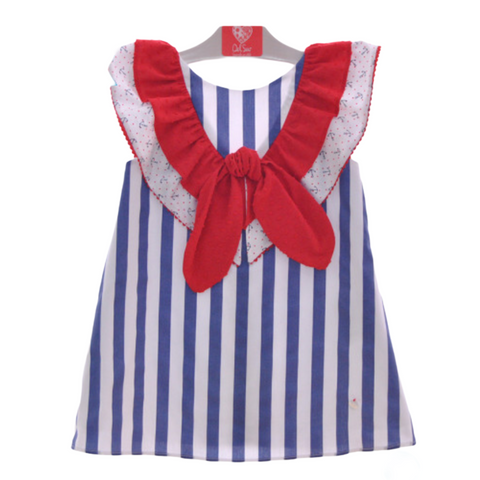 Girl's Striped Dress With Frilled Detailing To The Front