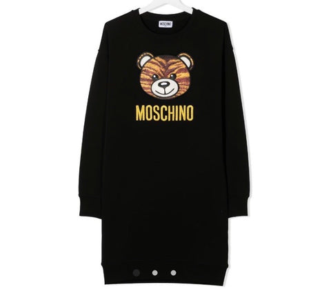 Moschino Girl's Black Teddy Sweatshirt Dress