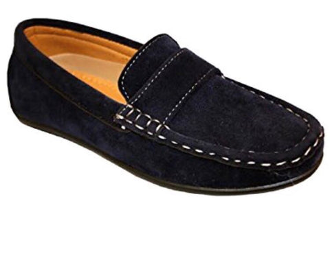Boys Blue Suede Effect Loafers
