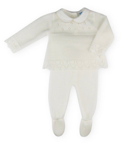 Sardon Unisex Cream Knitted Two Piece Set