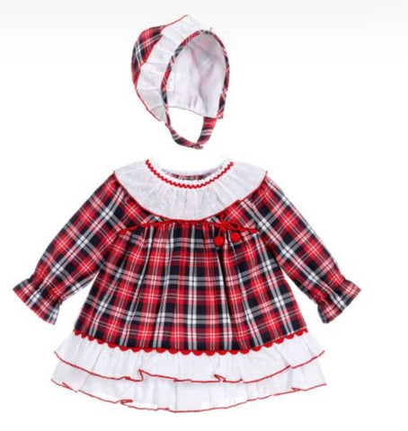 Miranda Baby Girl's Tartan Dress, Knickers And Bonnet Set (Pre Order)