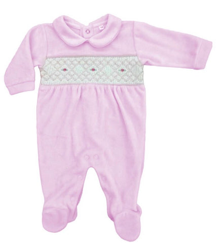 Rapife Baby Girl's Pink Velour Baby Grow With Smocking Detail