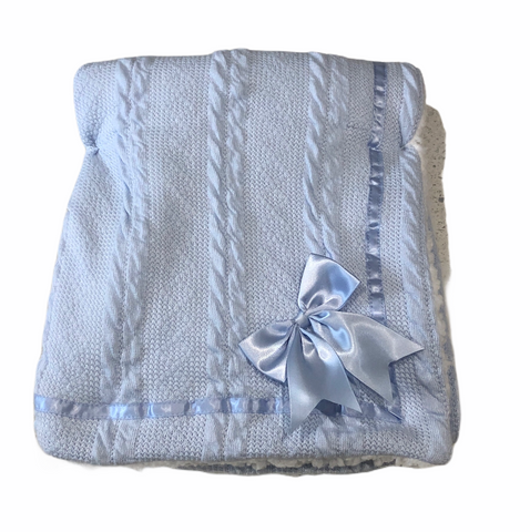 Baby Blue Cheveron Cable Knit blanket With Satin Trim And Bow