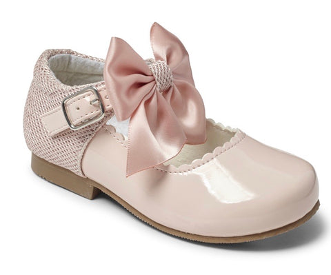 Sevva Girl's Pink Bow Hard Sole Shoes