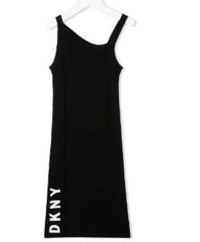 DKNY Girl's Asymmetric Logo Dress
