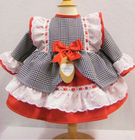 Baby Girl's Checked Frill Trim Dress
