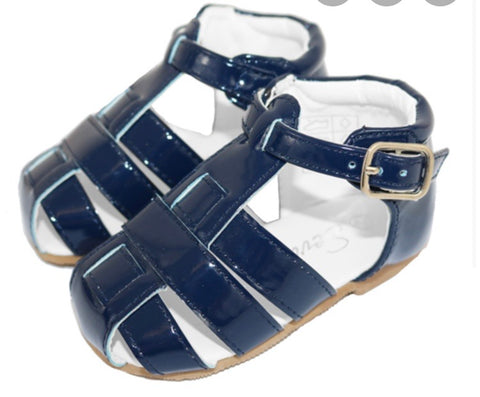 Sevva Baby Boys Or Girls Navy Patent Buckle Sandal