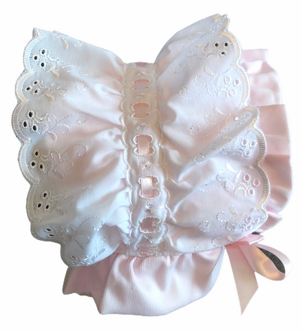 Baby Girl's White And Pink Bonnet