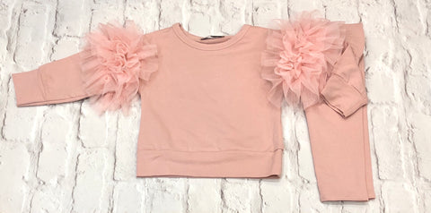 Girls Pink Ruffled Arm Tracksuit