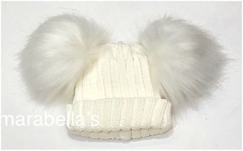 Cream Knitted Hat With Two Faux Fur Pom Poms