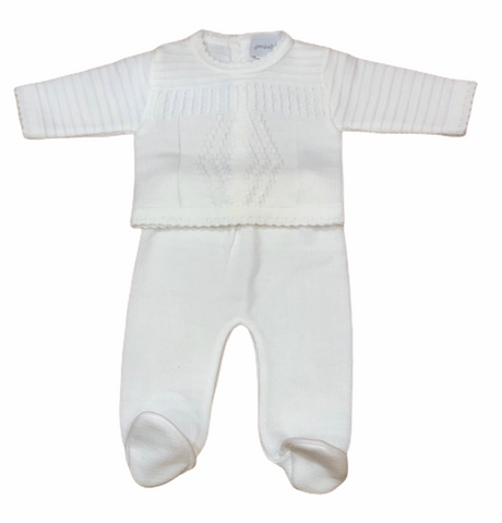 White Neutral Two Piece Knitted Baby Set