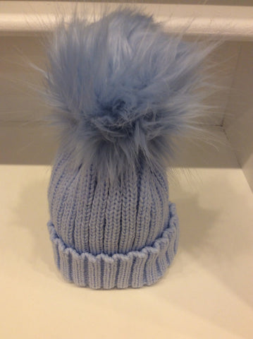 Baby Blue Pom Pom Hat  (Faux Fur)