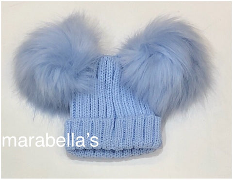 Pale Blue Knitted Hat With Two Faux Fur Pom Pom's