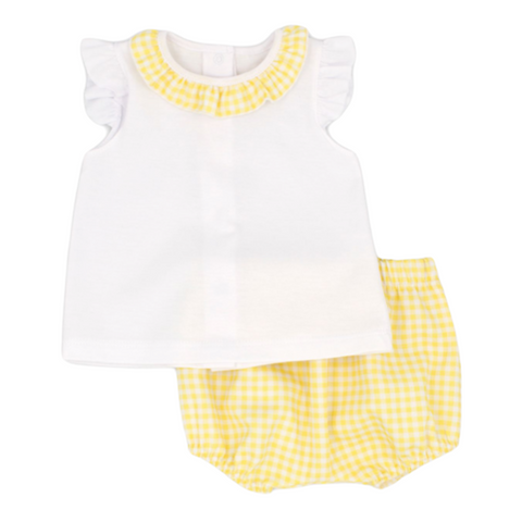 Rapife Baby Girl's Yellow And White Two Piece Set