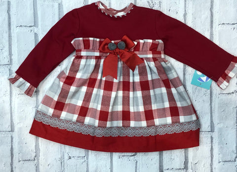 Spanish Baby Red and Grey Check Dress
