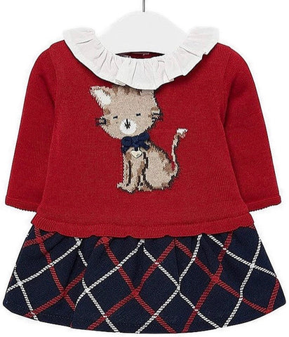 Mayoral Baby Girl's Red Dress With Cat Design