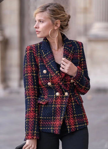 Ladies Navy Checked Double Breasted Blazer