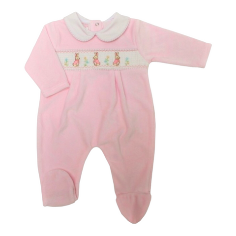 Baby Girl's Peter Rabbit Style Velour Baby Grow