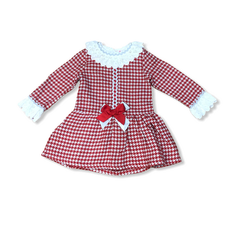 Spanish Girls Red Checked  Dress