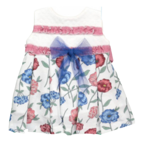 Baby Girl's White Patterned Dress With Blue Frill