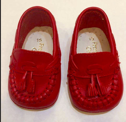 Boys Red Leather Pram Shoes