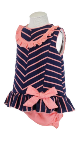 Basmarti Baby Girl's Navy Striped Dress With Knickers