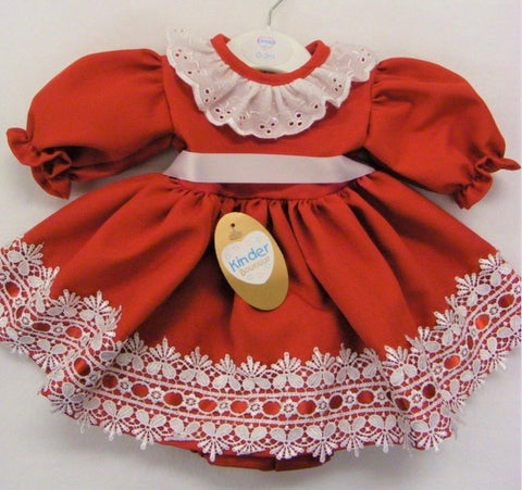 Baby Girl's Red And White Dress With Matching Pants