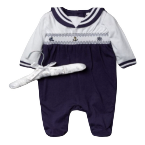 Baby Boy's Nautical Smocked Babygrow