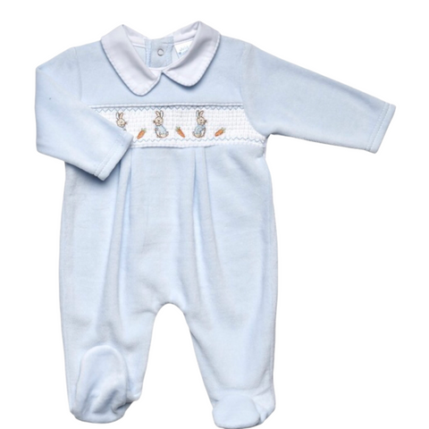 Baby Boy's Peter Rabbit Style Velour Baby Grow
