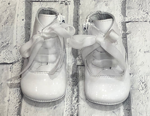 Pretty Originals Baby Girl's Patent White Boots