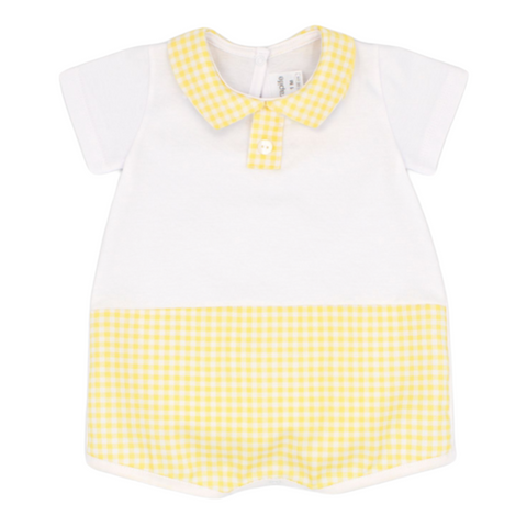 Rapife White And Lemon Short Sleeved Romper