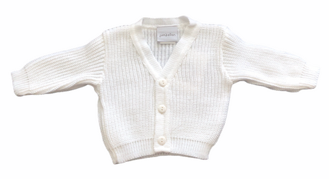 Baby Girl's Or Boy's White Knitted Cardigan