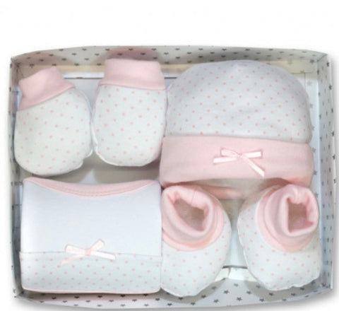 Baby Girl's White And Pink  Newborn Gift Set
