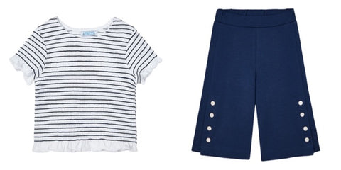 Mayoral Girl's Rushed T Shirt And Navy Trouser Set