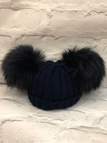 Navy Blue Knitted Hat With Two Faux Fur Pom Poms