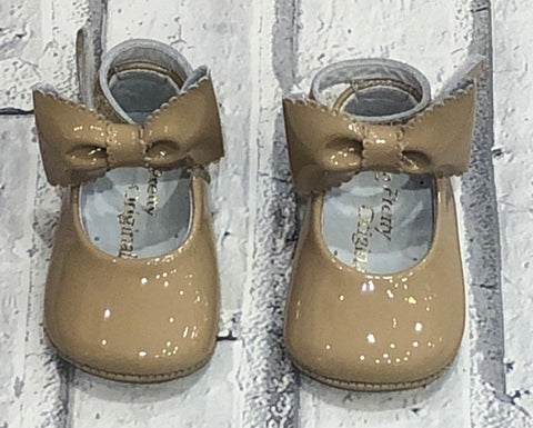 Pretty Originals Camel  Patent Pram Shoes With Ankle Strap