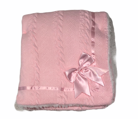 Baby's Pink Cheveron Cable Knit  Blanket With Satin Trim And Bow