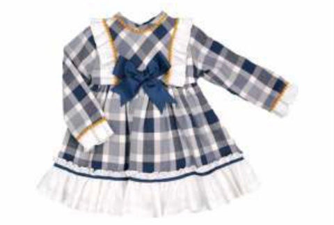 Spanish Baby Girl's Navy Checked Dress