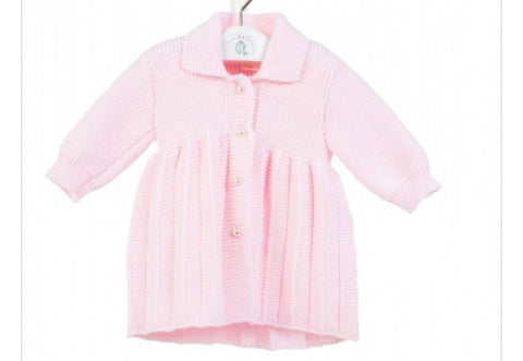 Baby Girl's Pink Knitted Coat With Pearl Buttons