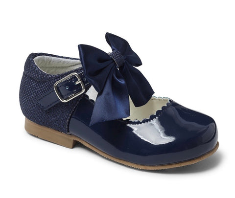 Sevva Girl's Navy Blue Bow Hard Sole Shoes