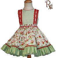 Green & Red Puffball Dress