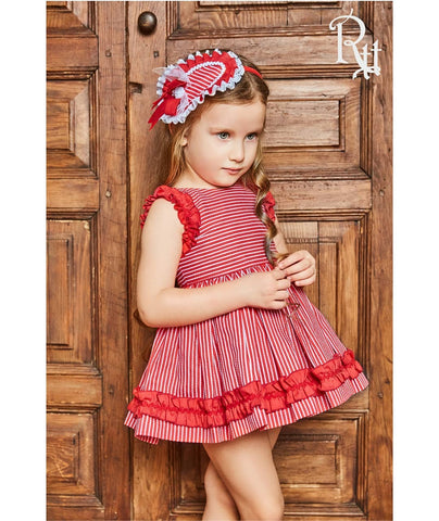 Red Stripe Puffball Dress Set