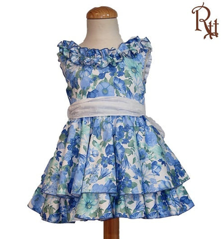 Blue Floral Detail Puffball Dress